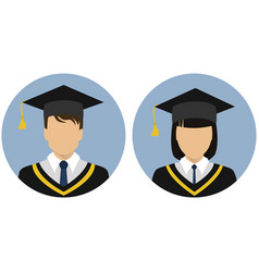 Icons set student graduate avatar vector