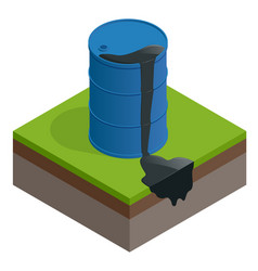 Isometric oil spill or waste oil barrel vector