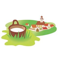 Landscape village milk vector