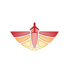 Logo airplane wings transportation tr vector