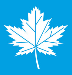 Maple leaf icon white vector