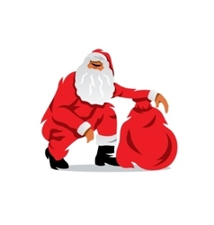 Santa claus with sack of gifts cartoon vector