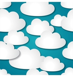 Seamless background with paper clouds vector image