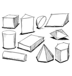 Set of sketchy 3d geometrical shapes vector