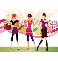 shopping fashion girls vector image