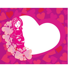 shower card with happy pregnant woman vector image