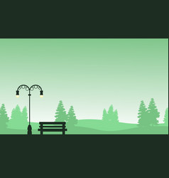 Silhouette of chair and lamp on garden landscape vector