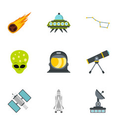 ufo and space icons set flat style vector image