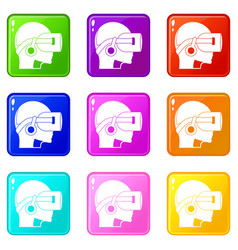Vr headset icons 9 set vector