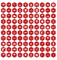 100 dispatcher icons hexagon red vector