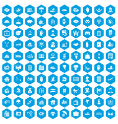 100 insurance icons set blue vector image vector image