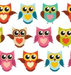 Cute owl seamless pattern background vector