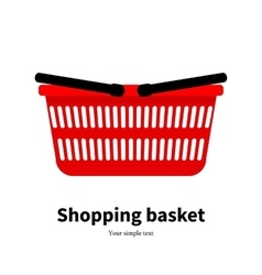 Red plastic empty shopping basket vector
