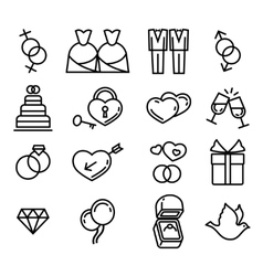 Gay wedding icons set white vector