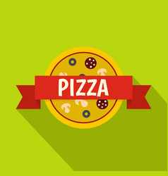 pizza badge with red ribbon icon flat style vector image