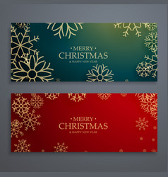 Set of two merry christmas banners template in vector