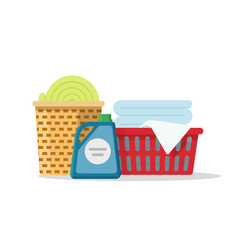 laundry on baskets  flat vector image