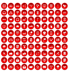 100 communication icons set red vector image