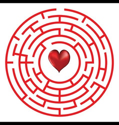 Love heart maze or labyrinth vector
