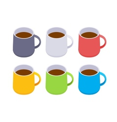 Isometric colored coffee mugs vector