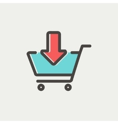 Remove from shopping cart thin line icon vector