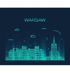 Warsaw skyline silhouette linear vector