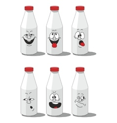 Milk smailing bottle set 002 vector