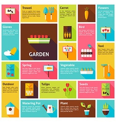 Flat design icons infographic spring nature garden vector
