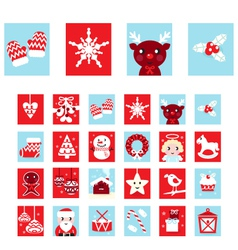 Advent calendar retro christmas icons vector