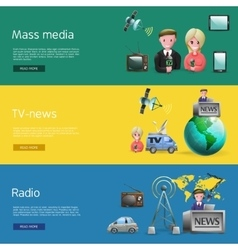 Horizontal mass media bunners set vector