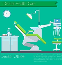 Dentist office flat design with dental care items vector