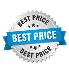 Best price 3d silver badge with blue ribbon vector