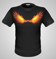 T shirts black fire print man 30 vector