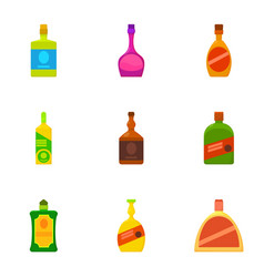Alcoholic bottle icons set cartoon style vector