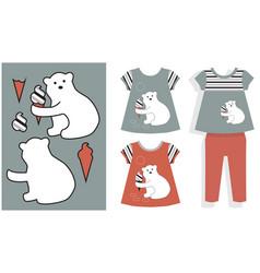 Applique white bear and ice cream vector