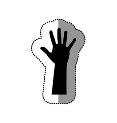 Black hand up icon vector