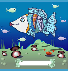 Cartoon fish in the depths of the ocean vector