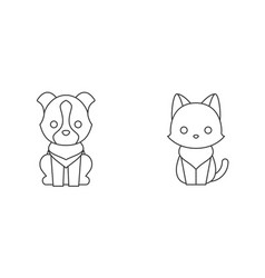 cat and dog thin line icon pet shop concept vector image