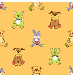 Cat dog and rabbit background pattern vector image vector image