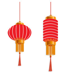 chinese new year red lanterns are round and vector image vector image