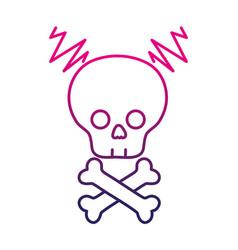 color line skull with bones to dander symbol to vector image vector image