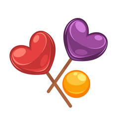 Colorful lollipop candies set in shapes of heart vector