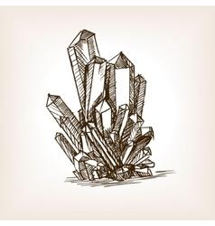 Crystals sketch style vector