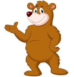 Cute brown bear presenting vector image