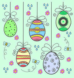 Doodle of easter egg style design vector