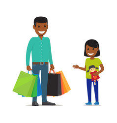 family on shopping father and daughter characters vector image