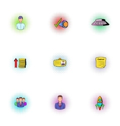 Firm icons set pop-art style vector