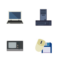 Flat icon computer set of notebook processor vector