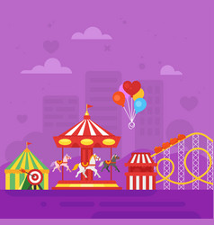 Flat style of amusement park for kids vector