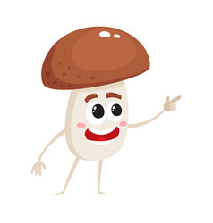 Funny porcini mushroom character with human face vector